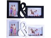 Picture of Bilderrahmen aus Kunststoff, für 2 Bilder, schwarz und weiß, LBH 37x18x3 cm