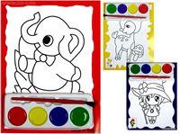 Picture of Bild zum Ausmalen als 2er Pack + Pinsel & 4 Farben, Format: 17x13 cm, vielfach sortiert