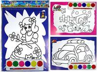 Picture of Bild zum Ausmalen als 2er Pack + Pinsel & 6 Farben, Format: 26x19 cm, vielfach sortiert
