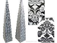 Picture of Boxenset Kartonage 15tlg. schwarz-weiß Ornamente, 2fach sort. kl.Box:9x5x5cm bis gr.Box:37x30x15cm
