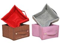 Image de Aufbewahrungsbox Filz, faltbar,4 Farben sortiert, grau, 18x18x12 cm, 2 mm dick