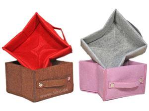 Picture of Aufbewahrungsbox Filz, faltbar,4 Farben sortiert, grau, 18x18x12 cm, 2 mm dick