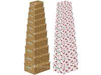 Picture of Boxenset Kartonage 10tlg., Metallgriffe, 2 Elch-, designs, Größen von: 10x5x6 cm bis: 37x30x15 cm
