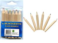 Picture of Buntstifte ''dick'' 6er Pack, Länge: 8 cm, gespitzt, aus Naturholz