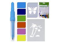 Image de Airbrushstifte mit Schablonen,, 6 Airbrush-Stifte, 2 vorgestanzte Schablonen im Hängeblister