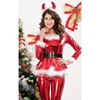 Picture of 4-teiliges Fluffy Santa Girl Costume in Rot