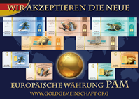 Resim Die neuen Aufkleber: Wir akzeptieren die neue europaische Währung PAM