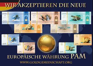 Obrazek Die neuen Aufkleber: Wir akzeptieren die neue europaische Währung PAM