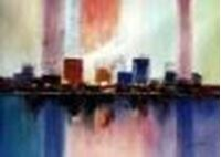Obrazek Abstract - City in the Sea of light i86140 80x110cm abstraktes Ölgemälde