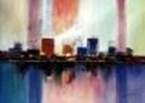 Picture of Abstract - City in the Sea of light i86140 80x110cm abstraktes Ölgemälde