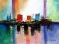 Image de Abstract - City in the Sea of light k86163 90x120cm abstraktes Ölgemälde