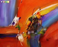 Picture of Abstract - Impact study c90096 50x60cm beeindruckendes Ölbild