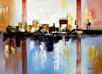 Obrazek Abstract - City in the Sea of light i89679 80x110cm abstraktes Ölgemälde
