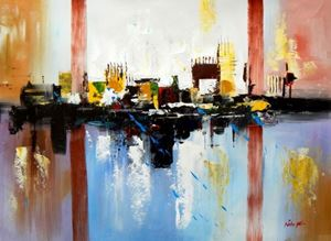Picture of Abstract - City in the Sea of light i89679 80x110cm abstraktes Ölgemälde