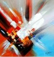 Picture of Abstract - clash of colors g90223 80x80cm abstraktes Ölgemälde
