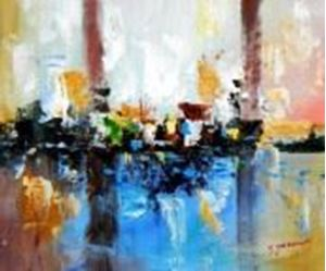 Picture of Abstract - City in the Sea of light c90538 50x60cm abstraktes Ölgemälde