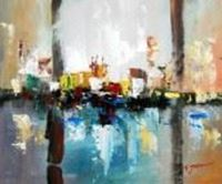 Obrazek Abstract - City in the Sea of light c90541 50x60cm abstraktes Ölgemälde