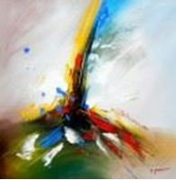 Afbeelding van Abstract -  Tower of colors g90692 80x80cm abstraktes Ölbild handgemalt