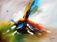 Afbeelding van Abstract -  Tower of colors i90748 80x110cm abstraktes Ölbild handgemalt