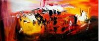 Picture of Abstract - Fireworks t91467 75x180cm exzellentes Ölgemälde